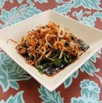 sauteed greens with crispy shallots
