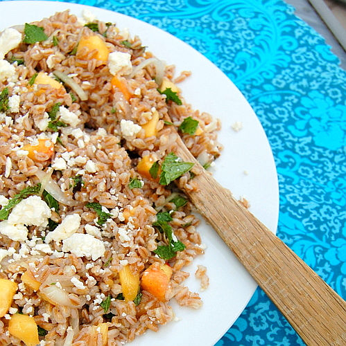 Farro with Peaches, Mint and Feta