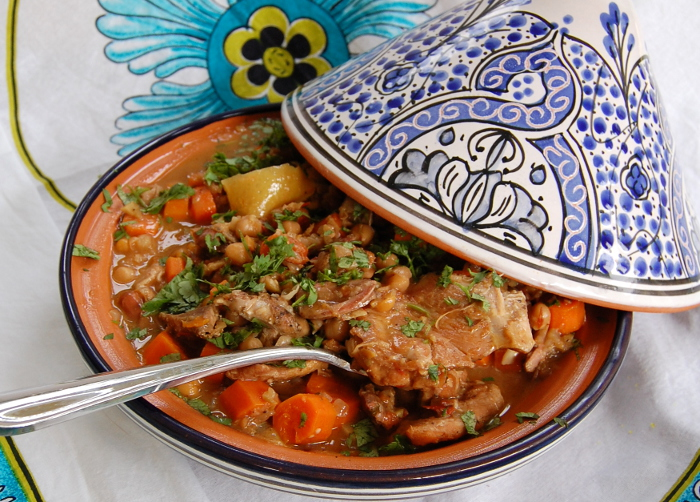 Chicken Stewed with Dates, Carrots and Chickpeas (Chicken, Date and Carrot Tagine)