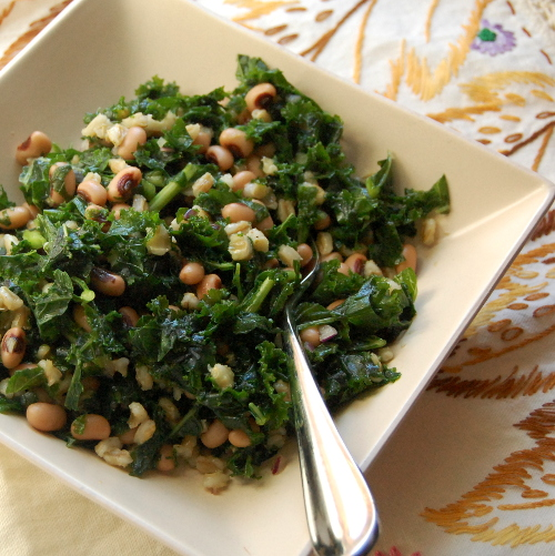 Mark Bittman's VB6 Diet (Kale Salad with Blackeyed Peas and Barley500