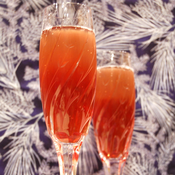 Winter Solstice (Pomegranate Mimosa with Cinnamon and Orange Peel)