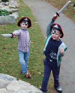 Little Guy and P.K. looking for pirate treasure together.