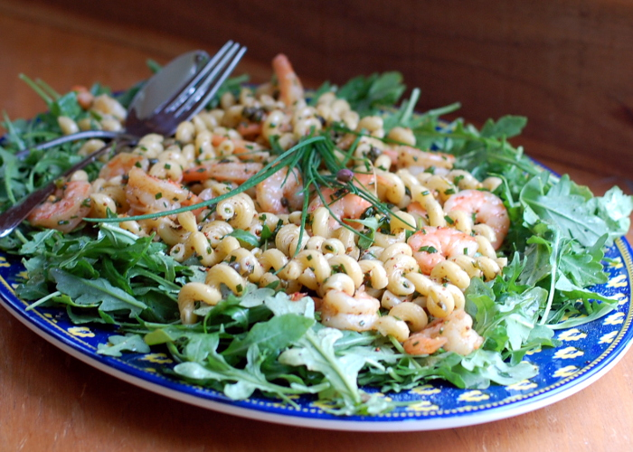 Shrimp Pasta Salad with Arugula