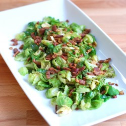 Brussels Sprouts with Cider Syrup and Duck Bacon - Square